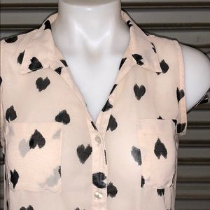Fun & Flirt Tops - Fun and Flirt sheer top cream with black hearts